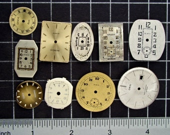 Mixed Lot of 10 Vintage round and Square Watch Faces, Dials, Clock Fronts, Painted or Enameled Pocket Watch Faces Steampunk Supplies 04176