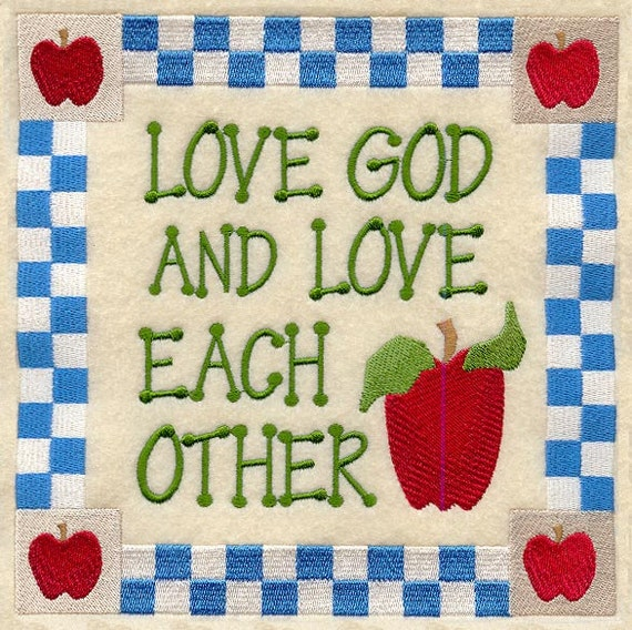 In Love God Each Other: Love God And Each Other Embroidered On Kona By