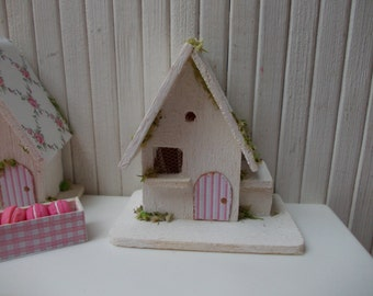 RESERVED Shabby chic bird house, scale 1.12