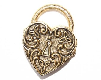Vanda Heart Shaped Padlock Solid Perfume Compact for the Steampunk Reticule