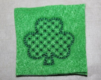 Shamrock w/ star motif patterned feltie, green felt with dk green stitching for St. Patricks Day, 4 pcs forhair accessories, scrapbooking