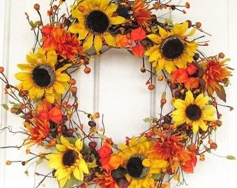WREATH SALE - Storm Door Wreath - Fall Door Decor - Sunflowers & Pip Berry Wreaths - Autumn Wreath - Fall Seasonal Wreath - Home Decor