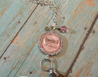 "Rhinestone ""Proverbs 31 Woman Pendant"" Pendant Necklace"