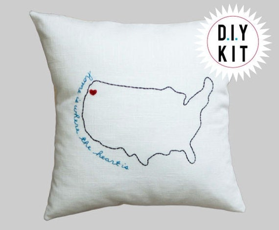 SALE! DIY Embroidery Kit - Home Is Where The Heart Is - Hand-Embroidered Pillow Cover on Linen Personalized Handmade Gift
