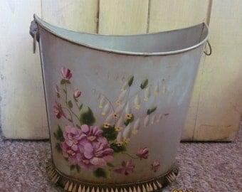 Vintage Tole-Painted Violets Waste Basket Cottage Chic Cottagey