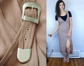 1990s Vintage Tan Khaki Beige Avant Garde Overalls Overall Shoulder Strap Dress with Silver Buckles & Buttons / Kim Kardashian / Medium M 8