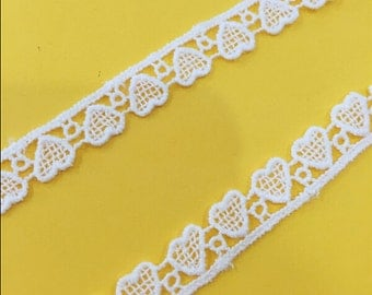 """20 yard 1cm 0.39"""" wide ivory heart fabric cotton embroidery tapes lace trim ribbon 5412 free ship"""