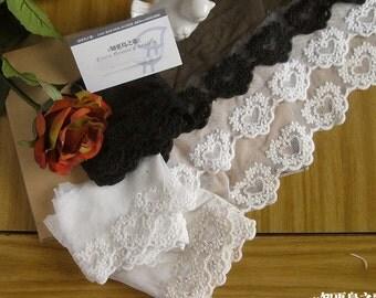 "14 yard 8.5cm 3.34"" wide ivory/beige/black heart fabric mesh tulle gauze cotton embroidery lace trim ribbon b56yg free ship"