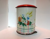Retro Kitchen Trash Can / Kitchen Trash Can with Flowers / 50's Kitchen Trash Can