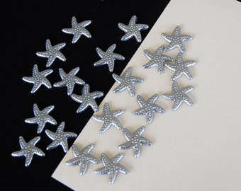 Silver Gray Star Fish Cabochon Resin Flat Back 19mm Set of 20