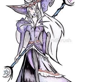 Dark Moon Witch - Halloween Sorceress Watercolor Inktober Illustration