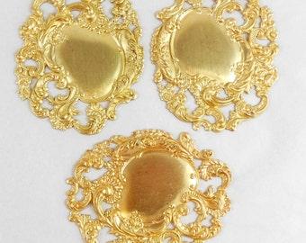 Victorian Stampings, Brass Blank, Brass Filigree, Leafy Edge Stampings, Raw Brass, Antique Brass, US Made Jewelry, B'sue, 80x64mm, Item08049