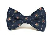 SHIPS FREE Navy Blue and Pink Floral Bow Tie for Boys ages newborn, baby, toddler, little boy. FREE shipping