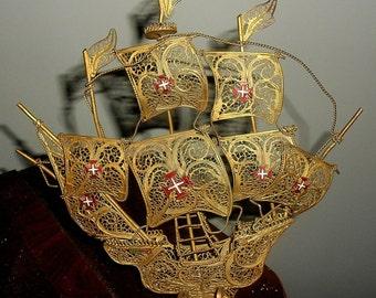 Vintage Miniature Portugal Galleon Ship