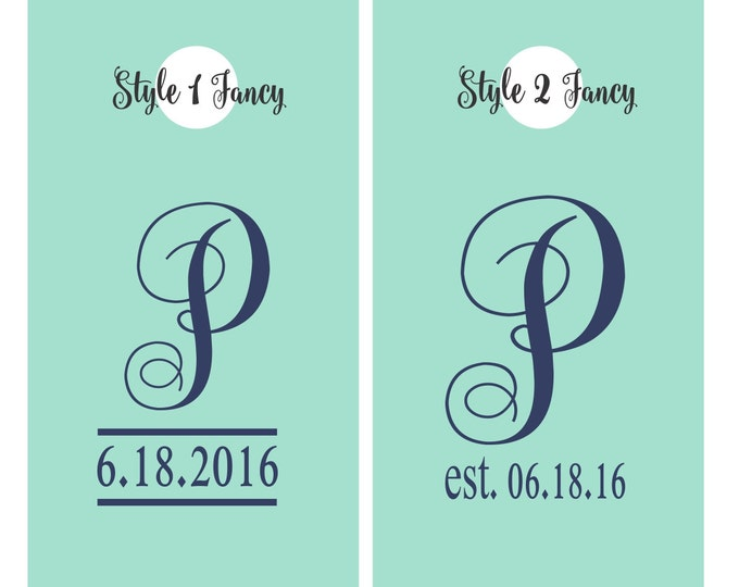 Cornhole Decals | Wedding Monogram Initial with Wedding Date Vinyl Decals for Cornhole Game Boards