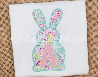 Bunny Initial Applique Shirt or Bodysuit Easter Shirt Easter Outfit