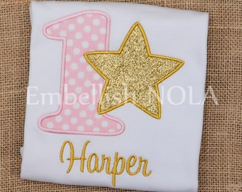 Twinkle Twinkle Little Star Pink and Gold Appliqued Birthday Shirt