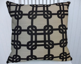 Black Grey Geometric Decorative Throw Pillow- 18x18 or 20x20 or 22x22- Pillow Cover- Accent Pillow