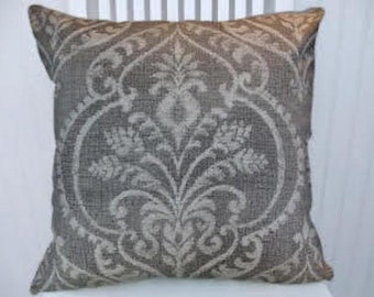Grey Paisley Decorative Throw Pillow- 18x18 or 20x20 or 22x22- Pillow Cover- Accent Pillow.