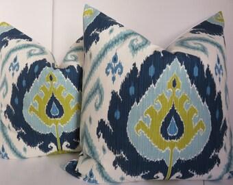 Ikat Pillow covers, 24x24 Pillow Cover, Blue Pillow Cover, Aqua Pillow Cover, Navy Blue Pillow Cover,White Cream Pillow Cover
