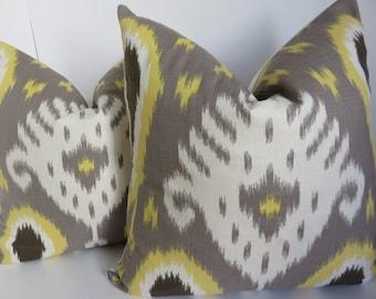 Ikat Pillow Cover, Yellow Gray Pillow Cover- Yellow Pillow - Decorative Pillows - Grey Pillow