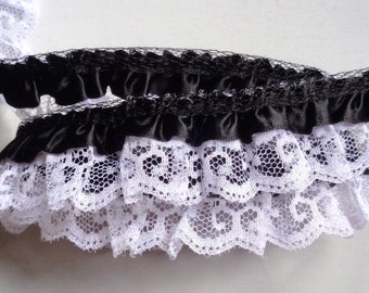 "black/white Satin Floral Ruffle Lace Trim 1"" price for 1 yard"
