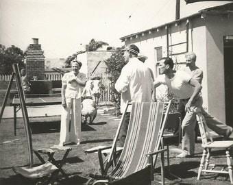 "Vintage Snapshot ""Backyard Fun"" Darts Ping Pong Outdoor Games Cookout Picnic Brick Barbeque Pit Skeeball Ring Toss Found Photo"