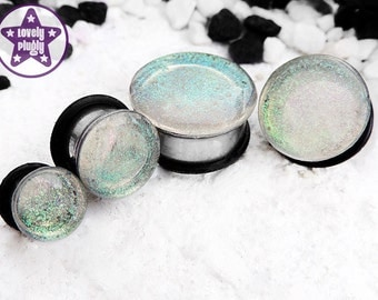 """Interference Faux Dichro Plug / Gauge Pale Green Blue Translucent Faux Dichroic Wedding Prom 1/2"""" 9/16"""" 5/8"""" 11/16"""" 12mm 13mm 14mm 16mm 18mm"""