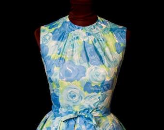 1950s Dress // Blue Rose Watercolor Print Full Skirt Sleeveless Party Dress