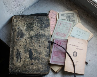 Vintage French Portfolio with Antique Books // Liturgy & Prayer Pamphlets
