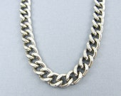 Mens Stainless Steel Necklace Chain Antique Silver Heavy Thick Curb Link Jewelry for Him