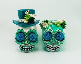 MINI cake topper Skull weddings handmade Turquoise bride and groom