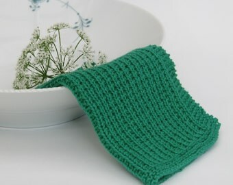 Hand knitted dish cloth - wash cloth - soft cotton green leaf kelly