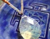 "Modern mala sandalwood necklace with pineapple quartz and Ethiopian opal / yoga necklace 20"""