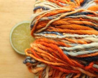 Boise - Orange Blue Wool Worsted Weight Handspun Yarn Hand Dyed
