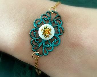 Flower Turquoise Bracelet, Gold Jewelry, Bridesmaid Gift, Yellow, Blue, Red Flower Bracelet Antique Brass Patina Aqua Bracelet