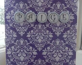 Personalized 8 1/2 x 11 Purple Damask Sketchpad