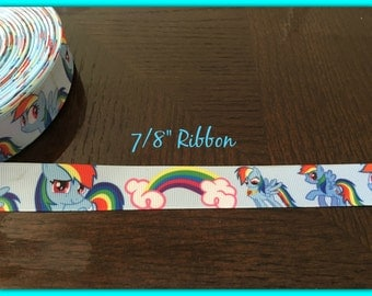 My Little Pony RAINBOW DASH 7/8 inch Grosgrain ribbon