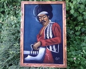 Vintage Large JIMI HENDRIX - Oil on Velvet Painting - Carved Wooden Frame - Wall Hanging - Retro