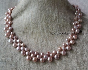 pearl necklace - 3 rows 16-17 inches Freshwater Pearl necklace, Lavender pearl necklace, choker pearl necklace, triple strand pearl necklace