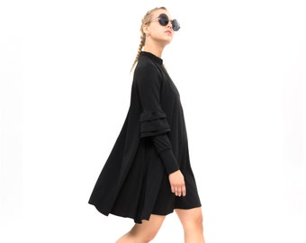 Black Trendy Swing Dress with Pockets,knee length Dress, Long detailed Sleeves,  Loose dress