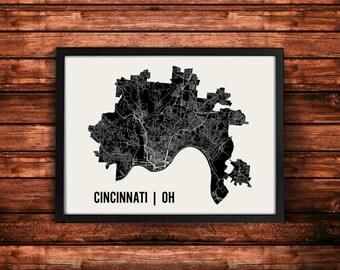 Cincinnati Map Artwork | Map of Cincinnati | Cincinnati Ohio Map | Cincinnati City Map | Cincinnati Poster | Cincinnati Wall Art Print