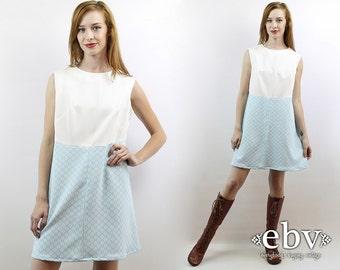 White Dress 70s Dress Hippie Dress 60s Mod Dress Hippy Dress Blue Dress Vintage 70s White + Blue Mini Dress L XL