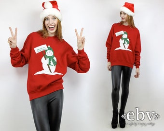 Ugly Christmas Sweater Fugly Christmas Sweater Xmas Sweater Tacky Christmas Sweater Holiday Sweater Vintage 80s Snowman Sweatshirt S M