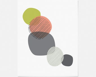 "Mid Century Modern Art Print - Pink and Green Wall Art - Abstract Geometric Art - 5x7"", 8x10"", 11x14"" Graphic Art for Nursery, Office"
