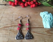Red Bamboo Coral Buddha dangly Earrings