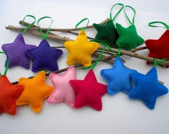 12 Puffy Felt Star Ornaments Handmade Set of 12  Bowl fillers  Rainbow Stars Kids Wedding favor NEW CHILD SAFE