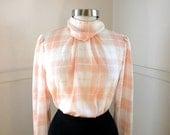 Just Peachy Secretary Blouse / 1980s Clothing / White Orange Plaid Polyester High Neck / Career / Long Sleeve Shirts / Silky Blouse / Medium