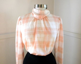 Just Peachy Secretary Blouse / 1980s Clothing / White Orange Plaid Polyester High Neck / Career / Long Sleeve Shirts / Silky Blouse / Medium