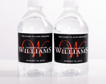 """CUSTOM LOGO 220 Wedding Water Bottle Labels - Need a different quantity? Click on the """"choose total"""" tab to see all pricing"""